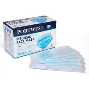 Troslojna maska za zaštitu lica - medicinska maska Tip IIR Portwest P030, 50 kom